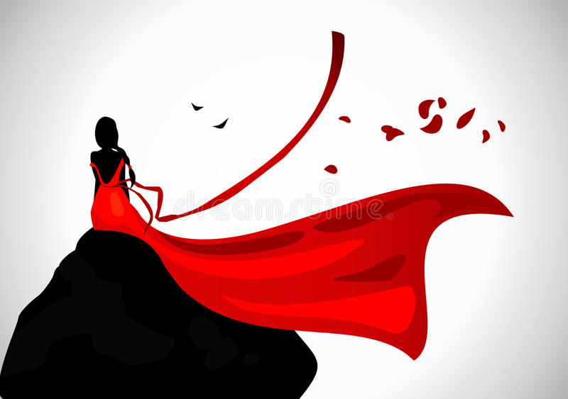 The lonely woman in a red dress. The lonely woman in a red dress looking in the distance royalty free illustration