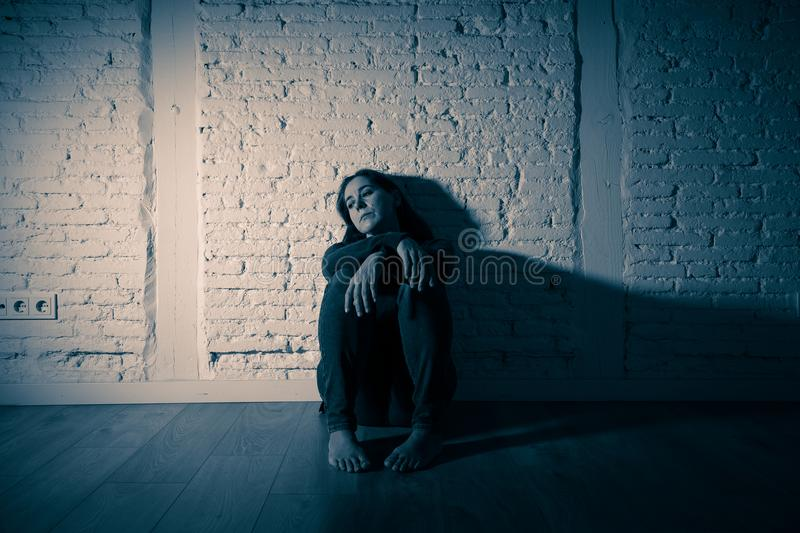 Lonely woman suffering from depression royalty free stock photos