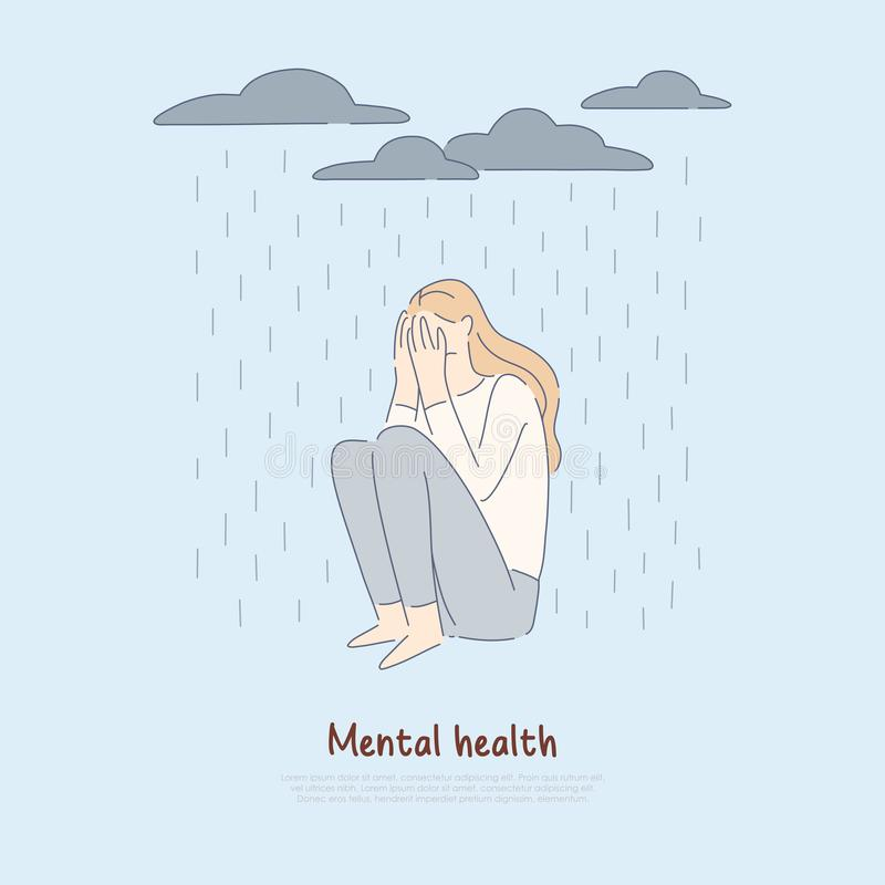 Lonely woman under raining clouds, depressed girl sit alone, bad mood, psychological disorder, depression banner. Frustration, mental health problem concept stock illustration