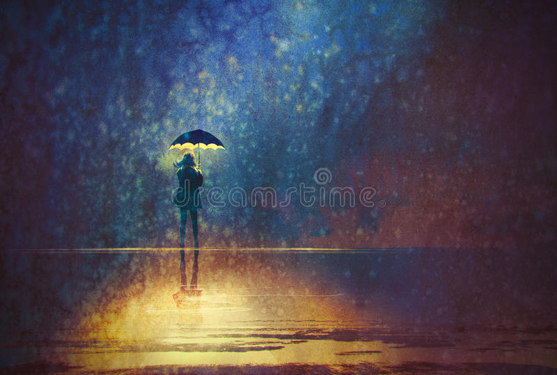 Lonely woman under umbrella lights in the dark stock illustration
