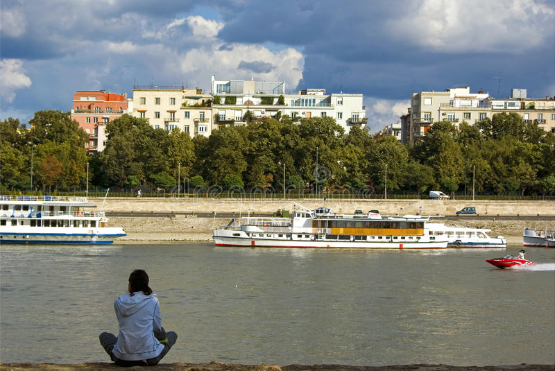 Lonely woman waiting royalty free stock photography
