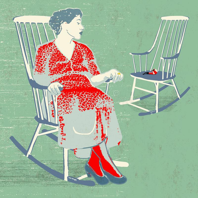 Widow rocking chair. Lonely woman widow  in rocking chair looking at an empty chair with pipe  on green background vector illustration