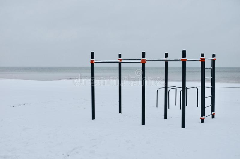 Workout place in the winter on the seaside. stock image