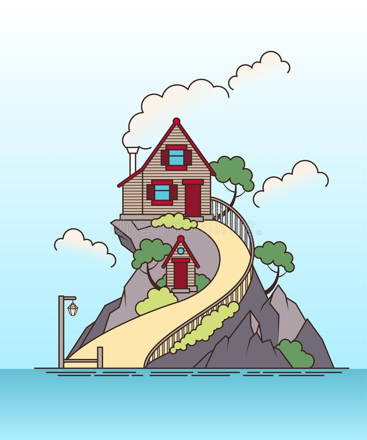 Lonely log house on the island flat style landscape stock illustration