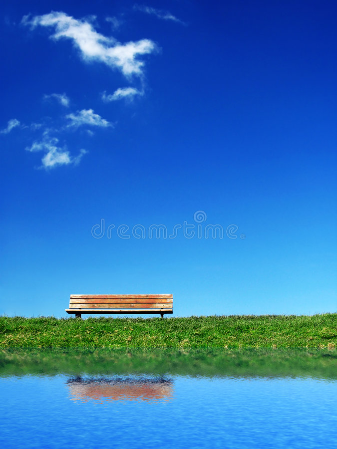 Lonesome bench 2 stock photo