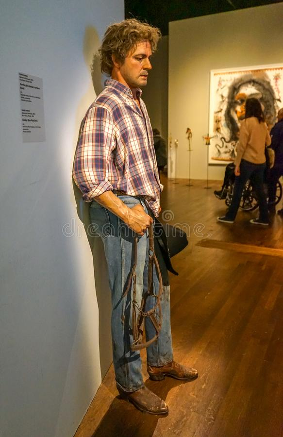 Lonesome cowboy at Montreal Museum stock photography