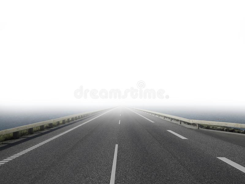 Lonesome empty road gets lost in the fog stock images