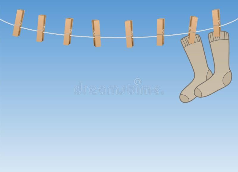 Lonesome Single Symbol Socks On Clothes Line vector illustration