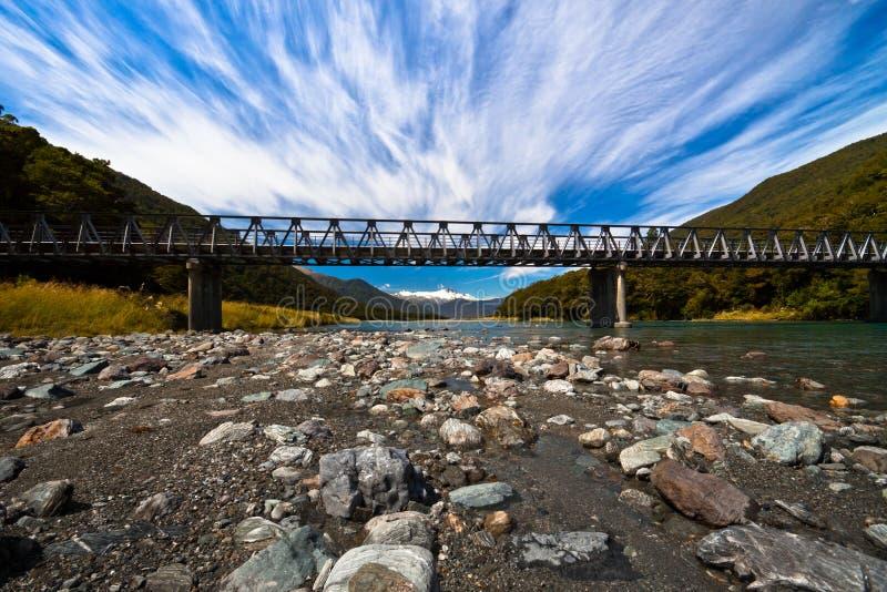Long alpine bridge - New Zealand stock images