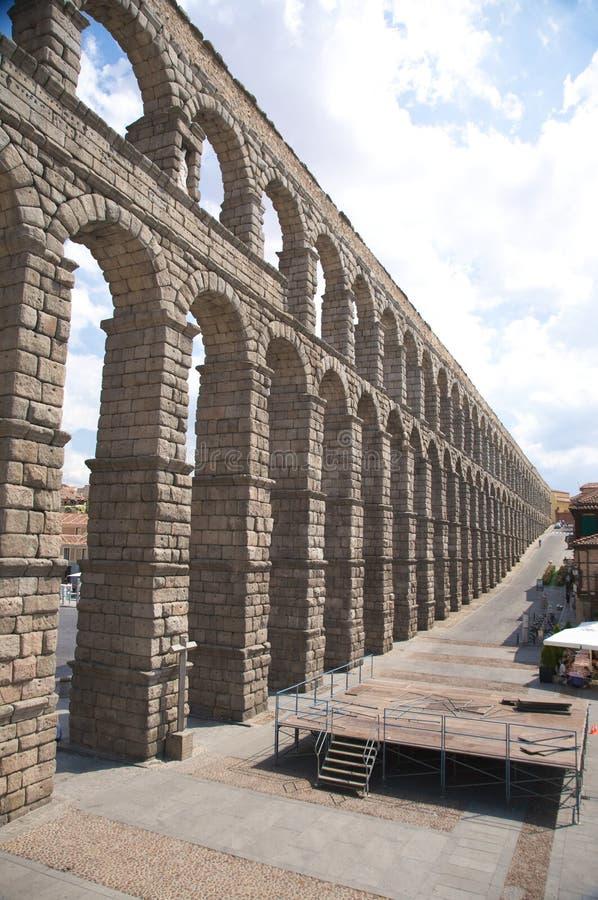 Long ancient aqueduct royalty free stock photography