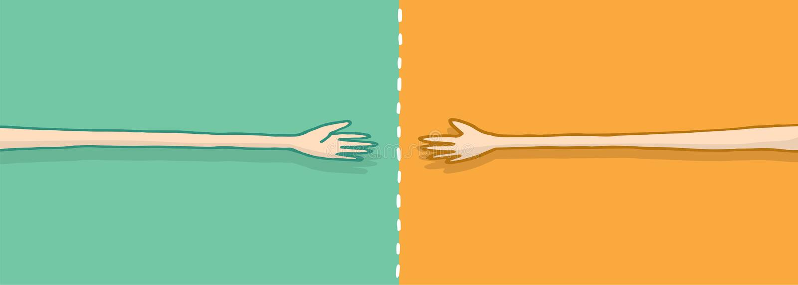 Long arms in negotiation on a handshake vector illustration