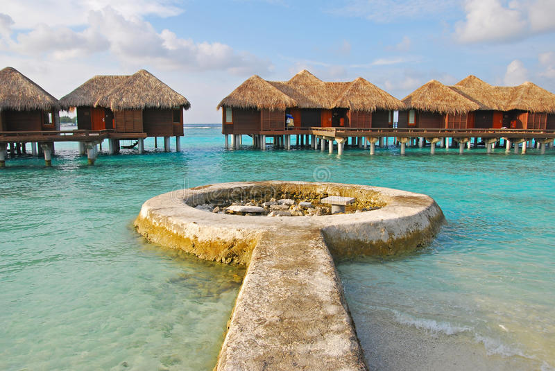 Long Awaited Island Vacation on Overwater Bungalow. With long round structure platform stock photo