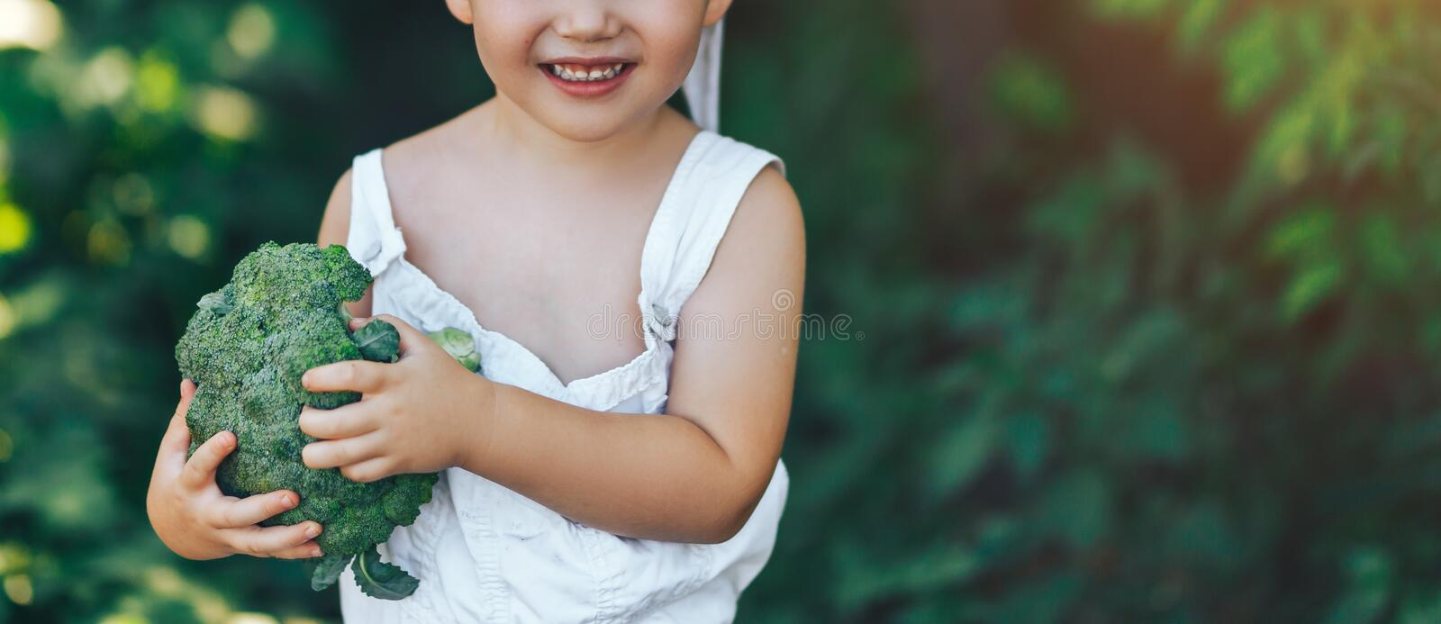 Litle happy smiling farmer boy in white overalls and grey hairband holding fresh organic broccoli in hands. garden, harvest season stock photo