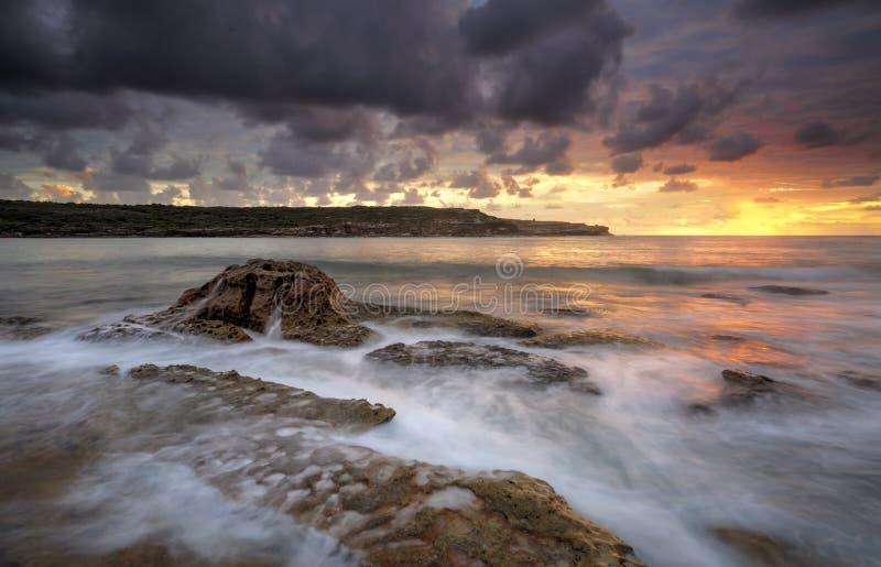 Long Bay Malabar sunrise royalty free stock photo