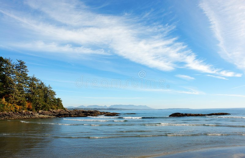 Long beach. View of long beach, tofino, british columbia stock photos