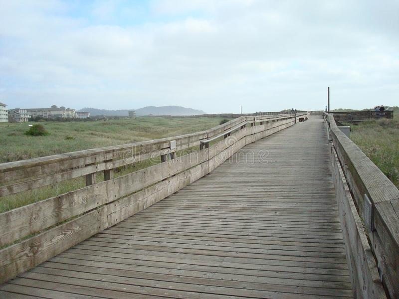 Long Beach boardwalk. Wooden boardwalk, Long Beach, Washington, USA stock photos