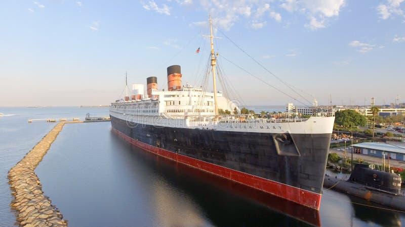 LONG BEACH, CA - 1 DE AGOSTO DE 2017: El RMS Queen Mary es el océano lin fotos de archivo libres de regalías