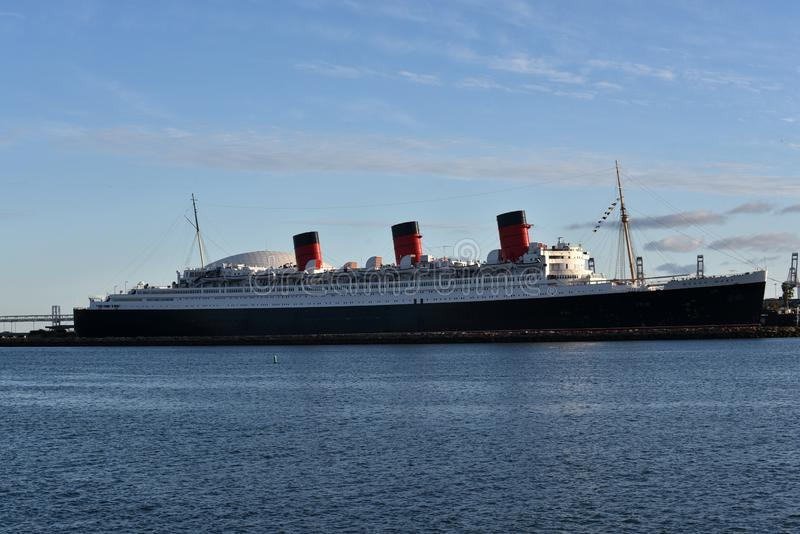 LONG BEACH CA/USA - March 8, 2019: The Queen Mary in Long Beach Harbor royalty free stock images