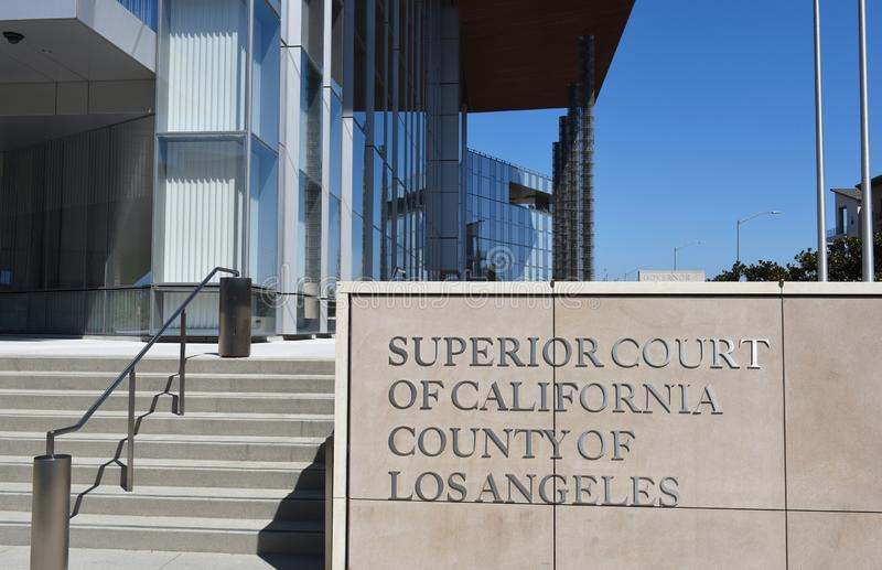 Sign at the Governor George Deukmejian Courthouse stock image