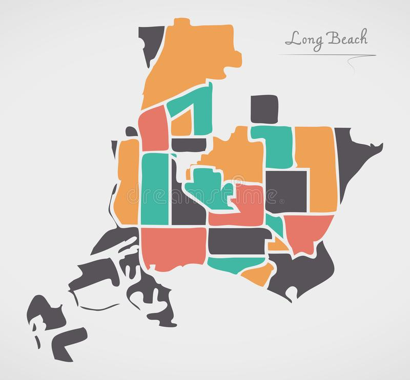 Long Beach California Map with neighborhoods and modern round sh. Apes illustration stock illustration