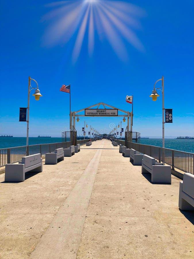 Long Beach California pier. Long Beach California Ocean pier on sunny summer day stock images
