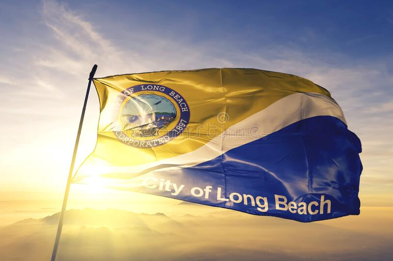 Long Beach of California of United States flag waving on the top. Long Beach of California of United States flag waving stock photography
