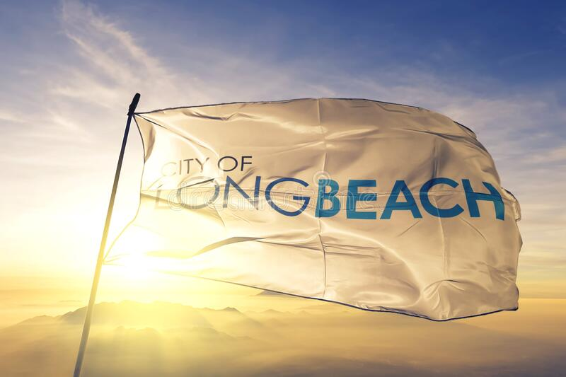 Long Beach of California of United States flag waving on the top. Long Beach of California of United States flag waving stock photos