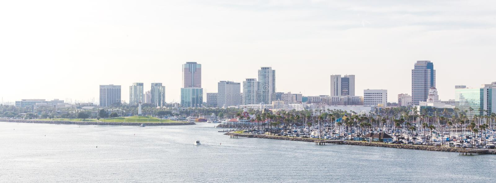 Long Beach California the USA port skyline with skyscrapers royalty free stock photography