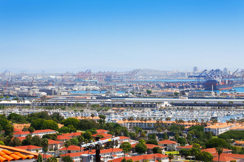 Long Beach city, marina and shipping port, USA. Aerial view of Long Beach city, marina and shipping port, California, USA stock photo