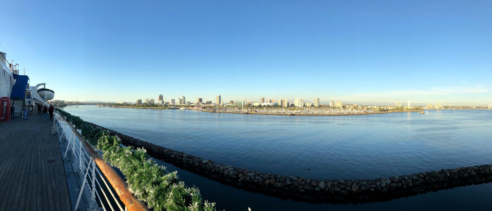 Long Beach City Panorama. Panorama view of Long Beach City buildings and ocean from the Queen Mary Boat in Los Angeles, California royalty free stock photography