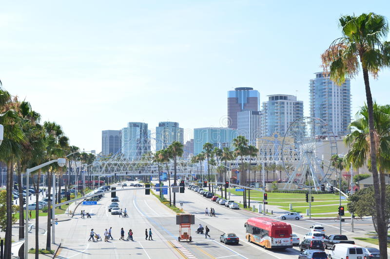 Long Beach city. In a sunny hot day in summer and clear sky, California, USA royalty free stock image