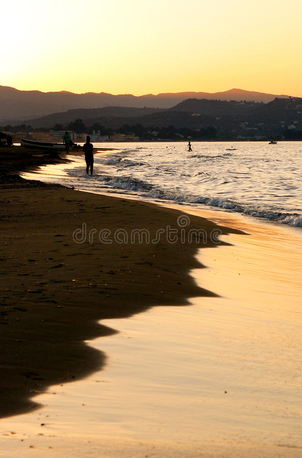 Long beach Crete. The 9 km long beach of Georgioupoli between Chania and Rethymno on the west of the island of Crete Greece royalty free stock image