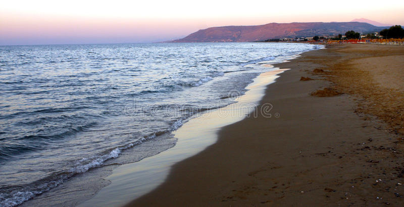 Long beach Crete. The 9 km long beach of Georgioupoli between Chania and Rethymno on the west of the island of Crete Greece royalty free stock photo