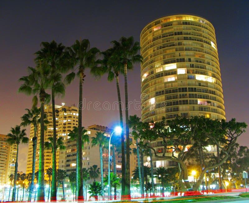 Long Beach för internationellt torn lång exponering royaltyfri bild