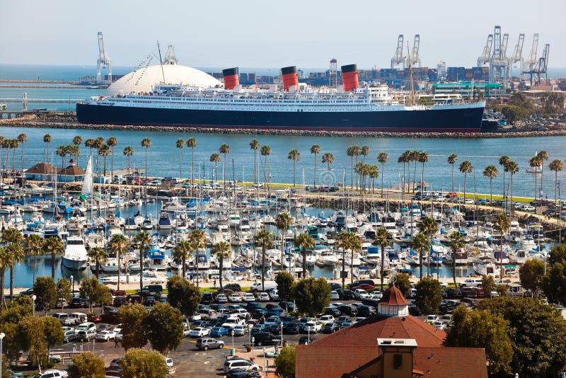 Long Beach Harbor, California. Panorama of Long Beach Harbor, California royalty free stock photos