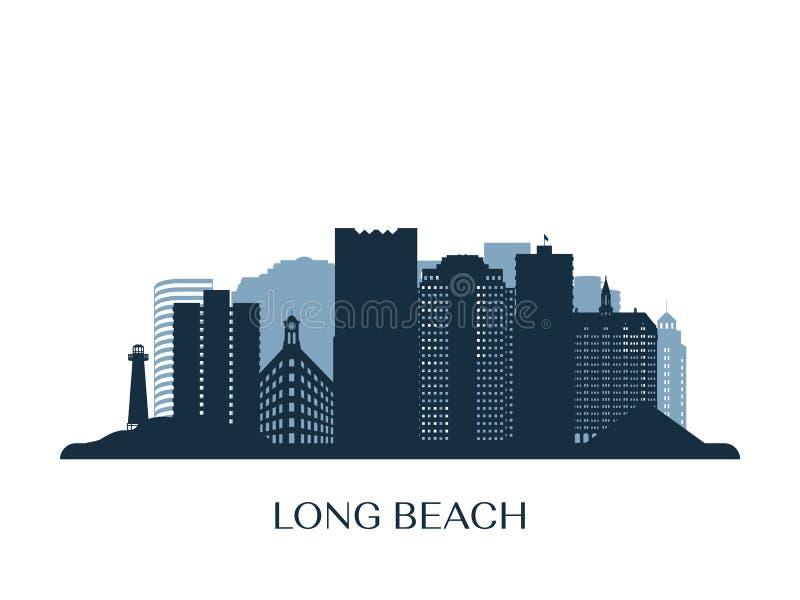 Long Beach horisont, monokrom kontur vektor illustrationer