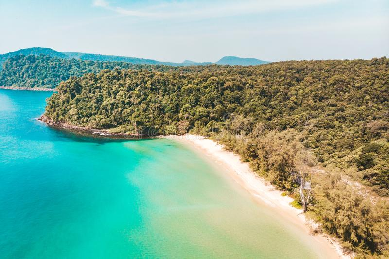 Long Beach on Koh Rong island in Cambodia, South-East Asia. top view, aerial view of beautiful tropical island in Gulf of Thailand stock image