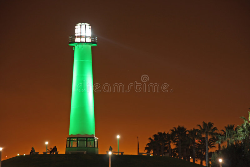 Long Beach Lighthouse. Night view of Long Beach Lighthouse royalty free stock image