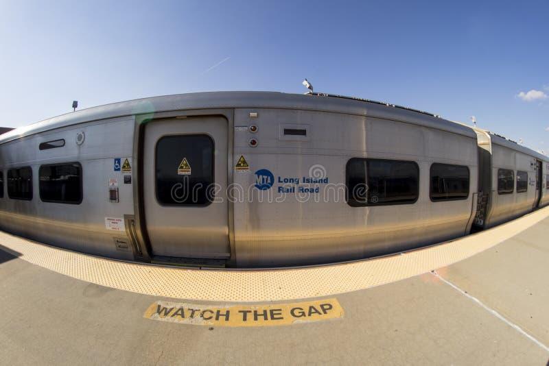Long Beach LIRR Train. Train stop for Long Beach LIRR. Shot with fisheye lens stock photography