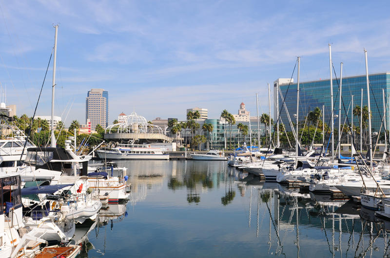 Long Beach Marina. LONG BEACH, CA - September 21, 2012: Long Beach Marina and city skyline, Long Beach, California. Long Beach is a popular tourist destination stock images