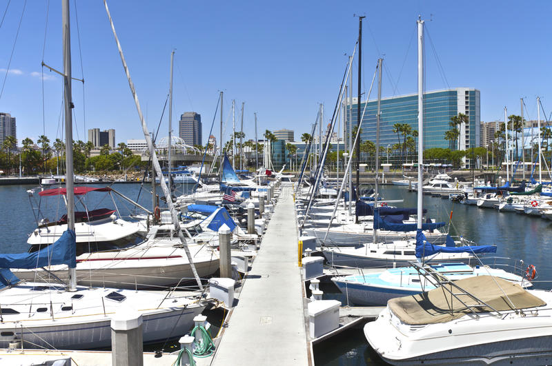 Long Beach marina California. Long Beach marina and sailboats in southern California stock photos