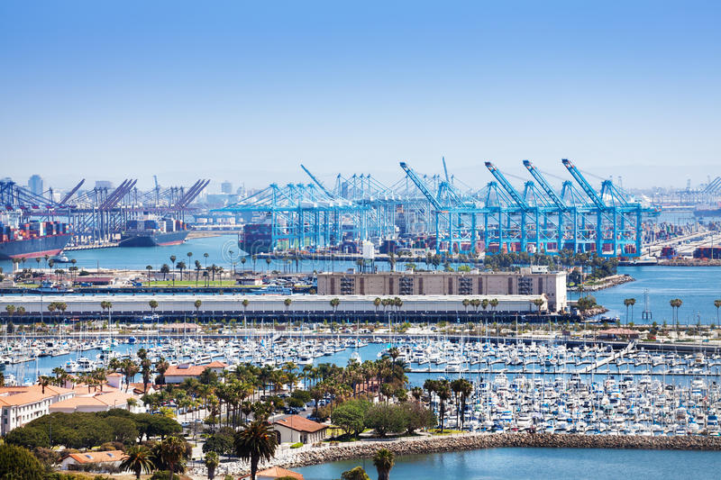 Long Beach marina and shipping port at sunny day. Aerial view on Long Beach marina and shipping port at sunny day, United States stock image