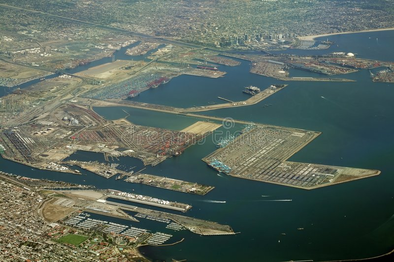 Long beach port. And cargo terminal royalty free stock photo
