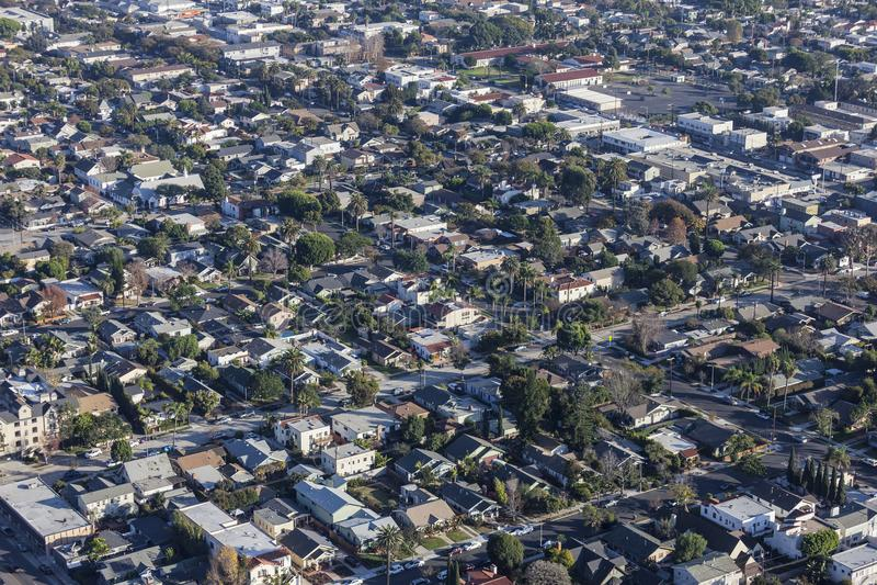 Long Beach Rose Park en Eastside-de Antenne van Buurtstraten stock afbeeldingen
