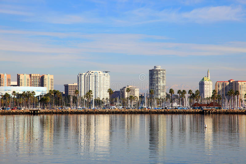 Long Beach Skyline, California. Long Beach Skyline, viewed from Queen Mary, Los Angeles, California, USA royalty free stock images