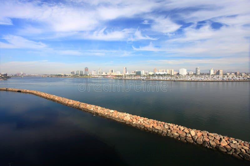Long Beach Skyline, California. Long Beach Skyline, viewed from Queen Mary, Los Angeles, California, USA royalty free stock photography