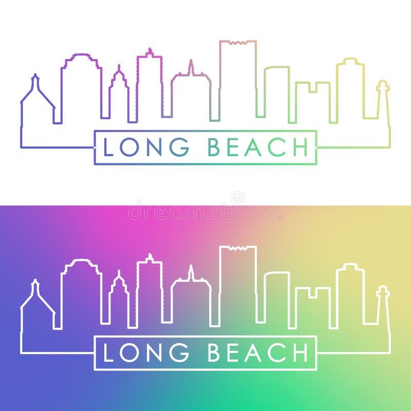 Long Beach skyline. Colorful linear style. stock illustration