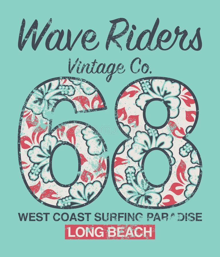 Long Beach surfing vintage company royalty free illustration