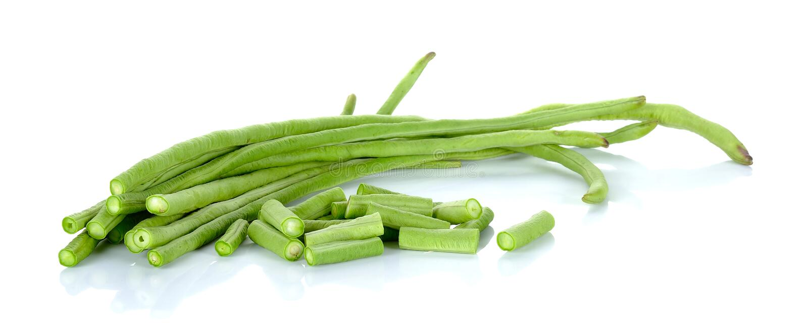 Long bean isolated on the white background stock images