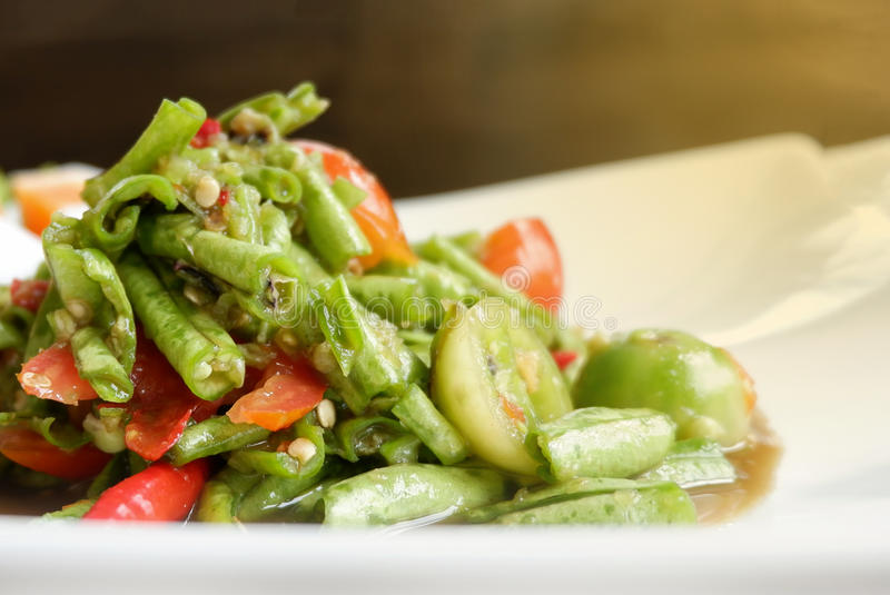 Long bean salad Spicy thai food royalty free stock images